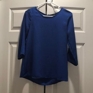 Royal blue silky blouse